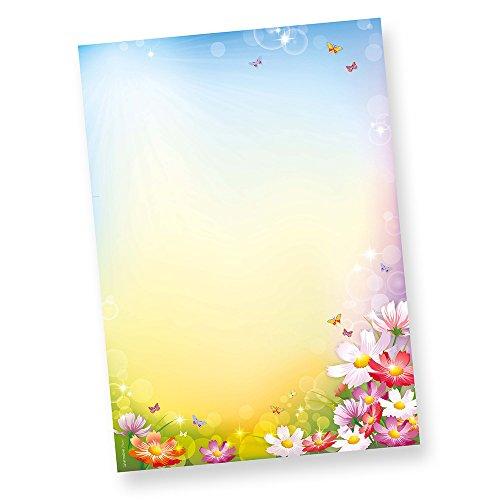TATMOTIVE 01-0102-0090-00050 FLORENTINA Briefpapier (50 Blatt) DIN A4 297 x 210mm 90 g/qm, Motiv-Papier Blumen bunt