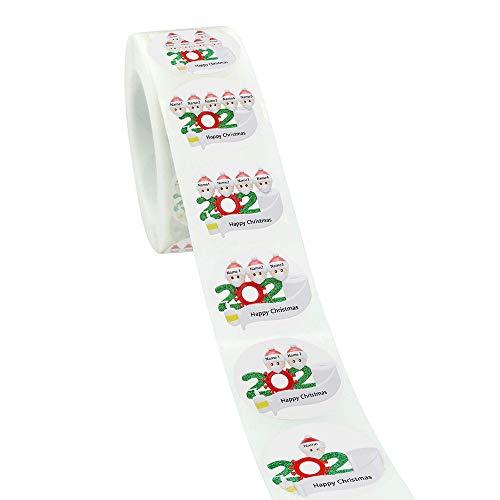 Irfora Weihnachtsaufkleber, 1 Rolle / 500 Stück Weihnachtsaufkleber Selbstklebende Weihnachtsaufkleber für Partydekoration DIY