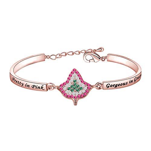 CHOORO Pretty In Pink Gorgeous In Green Zircon Bracelet Leaf Bracelet (Pretty In Pink br RG)