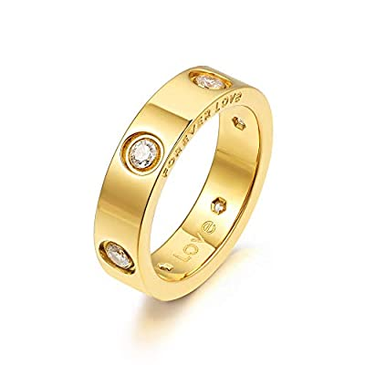 Nireus Promise Love Rings for Women, 18K Gold Plated Engagement Wedding Bands, Gift for Her, 5mm (Gold, 7)