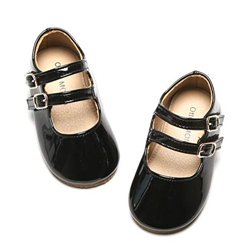 Otter MOMO Girls Mary Jane Ballerina Flats Double Buckle Straps School Uniform Dress Shoes (Toddler/Little Kid) (6 M US Toddler, D706-Black)