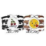 Bestchong Love You Kiss Lindo Online Chat Face pulsera correa de mano cuerda de cuero cereza amor pulsera doble juego