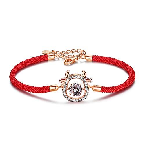 Pulsera Mujer, Plata De Ley Retro Smart Cute Bull Red String Pulsera, Zodiac Bull Hand String Jewelry