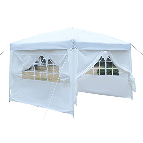 Tangkula 10'x10' Outdoor Pop-Up Canopy Tent Sturdy Steel Frame Durable Oxford Fabric Commercial BBQ Party Event Tent Waterproof Sun Heavy Duty Gazebo w/Removable Sidewalls and Carry Bag