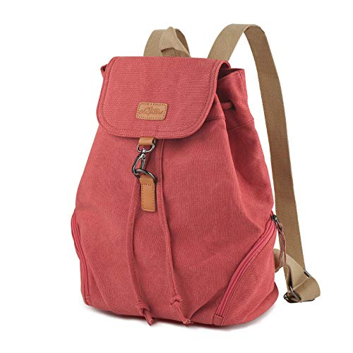 AtailorBird Women's Canvas Backpack, Anti-Theft Vintage Drawstring Bag Casual Rucksack for Daily Work Travel, Red