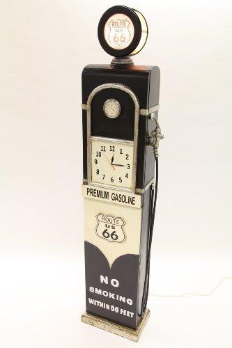 point home Design-Schrank Zapfsäule mit Uhr + Licht, Retro, schwarz, 187cm