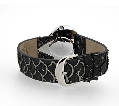 Moog Paris Heart Reloj para Mujer con Esfera Nácar Plateada, Correa Negra de Piel Genuina y Cristales Swarovski - M44334-003