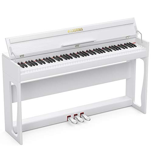 LAGRIMA LG-802 88-Key Weighted Heavy Hammer Action Digital Piano with Full-Size Weighted Keys | Muti-functional Piano with 3 Pedals and Bluetooth | Multi-tone Selection - White