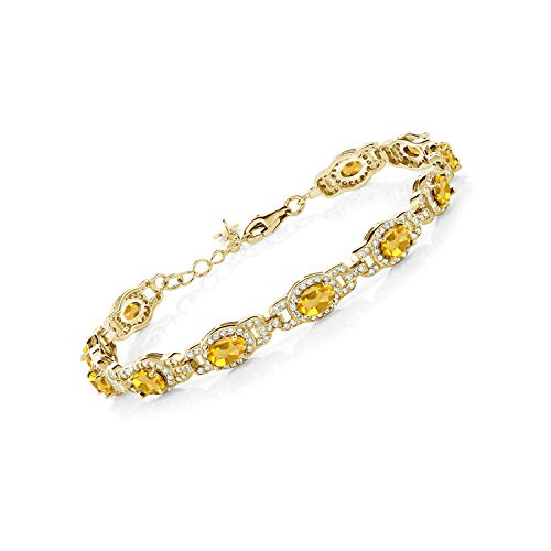 Gem Stone King 8.55 Ct Oval Yellow Citrine 18K Yellow Gold Plated Silver 7 Inch Bracelet With 1 Inch Extender
