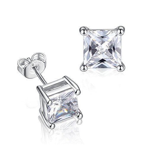 GULICX 7mm Square Zircon Unisex Men Women 925 Sterling Silver Stud Earrings White Clear CZ
