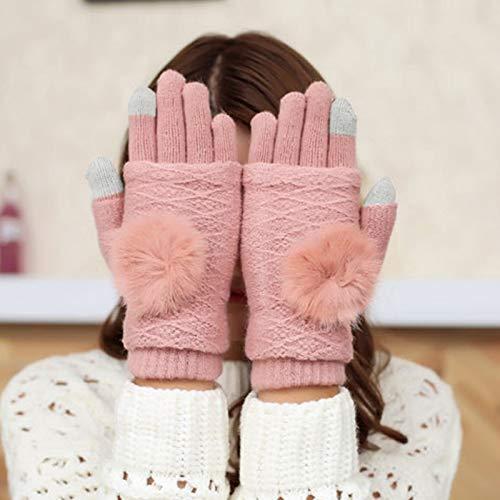 XXYHYQHJD Gants Femmes Hommes Gants d'hiver Épaissir Laine Chaude Femmes Femmes Douces Pompom Boule Décor Mitaines Plein Doigts Gants Poignet (Color : A 3, Size : 1)