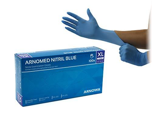 ARNOMED Guanti monouso in nitrile XL, senza polvere, senza lattice, 100 pezzi per scatola, guanti monouso, guanti in nitrile blu, disponibili in taglia S, M, L & XL