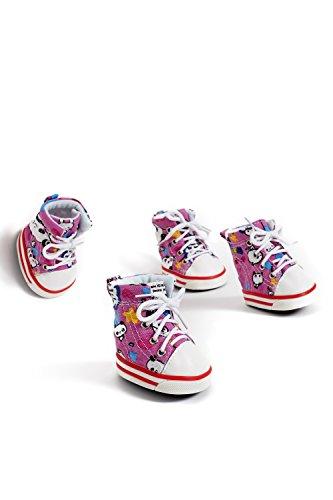 Large Dog Sneakers Canvas Shoes For Boxer Vizsla Dalmation Corgi Cocker Spaniel (Large Size, Pink)