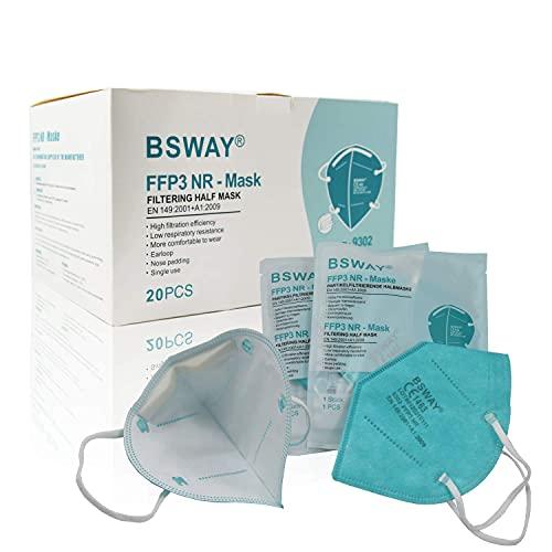 BSWAY 20X FFP3 Atemschutzmaske Staubschutzmaske Mundschutzmaske Einzelverpackt - Zertifiziert CE1463 - EU 2016/425 - Höchste Filterklasse 98% Filter ohne Ventil Grün