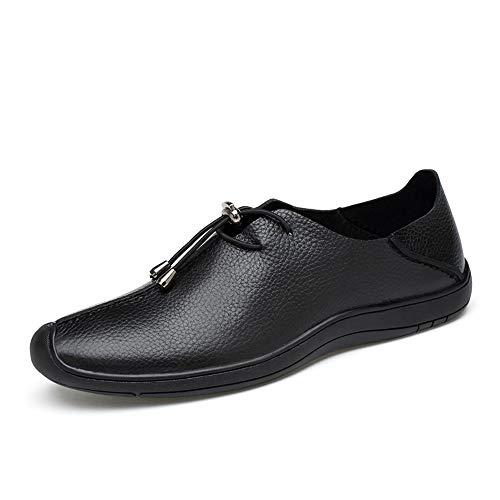 Temperament Honorable Oxford zapatos Oxford zapatos para hombres cordones estilo suave OX cuero fácil Formale zapatos personalidad coser fácil conducción Müßiggänger Fashion Classic Oxford zapatos para hombre, Negro , 45 UE