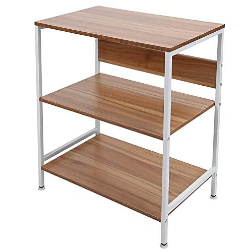 Estante de almacenamiento con 3 estantes, estante para microondas, estante para panadería, estante de metal, estante para el hogar, estante de metal, estante de pie para mini horno, tostadora(blanco)