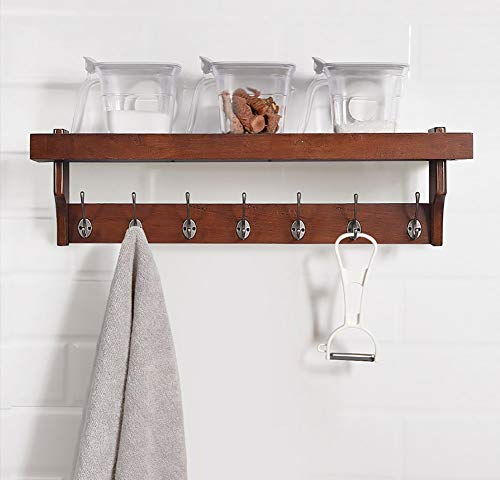 Plank van de Muur, Stevige Houten Kapstok, 4/5/7 Hook Simple muur Rack, multifunctionele opslag Rack for de slaapkamer muur bij de ingang van The Porch, wandrek for Kitchen Appliance Storage