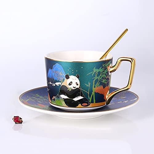 GLHT Kaffeetasse Und Untertassen-Set Im Chinesischen Stil, Einfache Nachmittagsteetasse Aus Keramik Mit LöFfel Panda