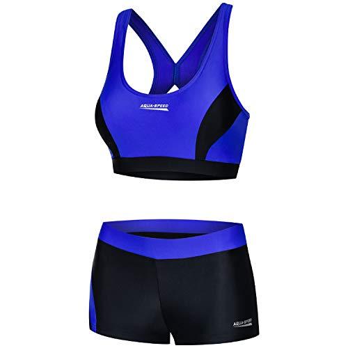 Aqua Speed Bikini Set Damen   Zweiteiler schwarz-blau   Two Piece Swimsuit   Bikinis Beachvolleyball   sportliche Bademode   Schwimmbikini für Frauen Mädchen   Gr. 38, 14 Black - Blue   Fiona