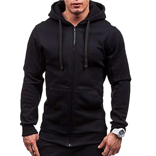 Autumn Men Casual Solid Zip Up Warm Pocket Cotton Breathablity Hoodie Hoodies Sweatshirt Jacket Coat Top Tops Black XL