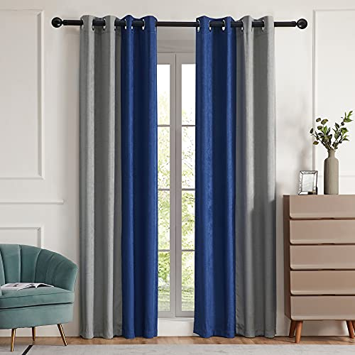 Blackout Curtains for Living Room Thermal Insulated Room Darkening Curtains Window Drapes for Bedroom Grommet Grey Blue 84 inch Long 2 Panels