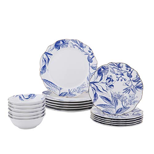 FIGULARK Floral Dinnerware 18-Piece Set for 6, New Bone Ceramic White Blue Microwave & Dishwasher Safe for Salad Pasta Restaurant, Family Party