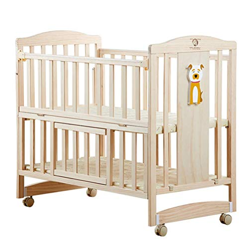 KLI Newborn Infant Crib With Mosquito Net 6 Sets Bedding Solid Harmless Paint Wood Baby Cradle Rocking Bed,104 * 61 * 96Cm,6Sets(Deer)