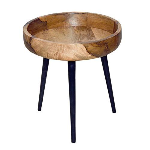 casamia Beistelltisch Couchtisch Wohnzimmer Tisch rund ø 40/50 cm Amsterdam Metall-Gestell schwarz matt Größe Durchmesser 40 - Höhe 38 cm