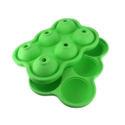 MULIN 6 Cavities Design with Lid Ice Trays Mold, The Water Inlet is Funnel-Shaped, Great for Home use, Parties and Bars and so on, Compact Design, Stackable Ice Tray Green