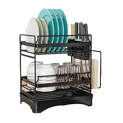 Diskställ, dubbla lager köksmaterial för att torka, tvätta och tömma diskställ, 201 förvaringsställ i rostfritt stål, silver