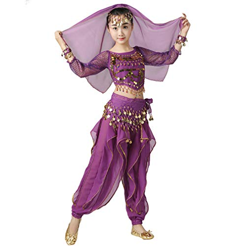 Magogo Bauchtänzerin Kostüm Outfit 6pcs Kit für Mädchen, Kinder Arabian Princess Indian Dance Chiffon Kleidung Anzug (L, Lila)