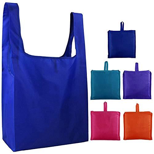 SODIAL Bolsas de Compras Conjunto de 5 Piezas, Puede Plegar en Bolsas de Supermercado,Adecuadas para Centros Comerciales, Juguetes de EnvíO, ArtíCulos Diversos, Lavado a MáQuina