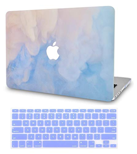 LuvCase 2 in 1 Laptop Case Compatible with MacBook Air 13 Inch (2018-2020) A1932 (Touch ID) Retina Display Rubberized Plastic Hard Shell Cover & Keyboard Cover (Blue Mist)