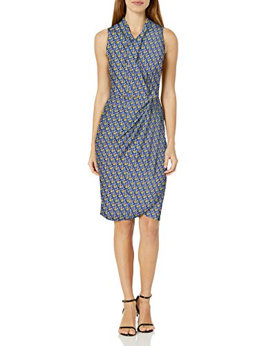 Amazon Brand - Lark & Ro Women's Sleeveless Crossover Twist Neck Faux Wrap Dress, Dark Navy Multicolor Floral, 12