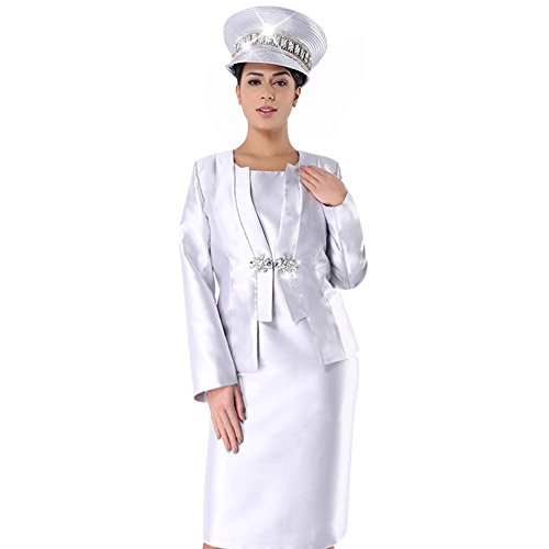 KUEENI Women Church Suits with Hats Special Occasion Wedding Party Clothes Silver