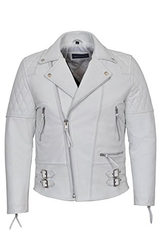 Reckless Motorradjacke für Herren, weiß, Biker-Stil, echtes Rindsleder, 233 Gr. XL, weiß