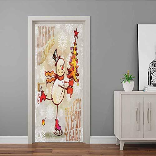 Adhesivo para puerta en 3D, diseño rústico de madera, diseño de Noel Time de Noel de diciembre, color verde y marrón, Multi - 12, 23.6 x 78.7 Inch