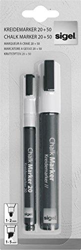 SIGEL GL176 Pannarelli a gesso liquido, Artverum, bianco, punta tonda 1-2 mm, obliqua 1-5 mm, 2 pz.