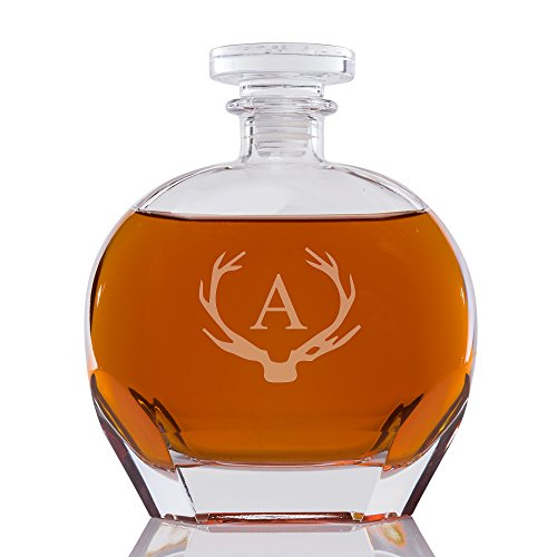 Abby Smith Antler Initial Engraved Kingsman Glass Decanter, Letter A