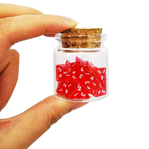 Bescon Mini Transparent Red D4 Dice 30pcs Healing Potion Bottle, 30pcs Roleplaying Mini Red Gem D4 Dice Healing Potion Pack in Glass Jar