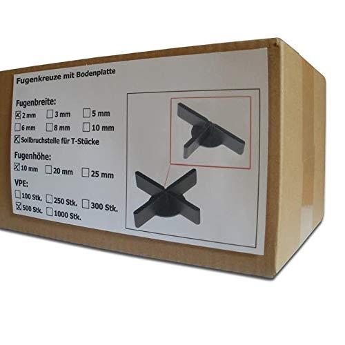500 Stück SANPRO Niedrige Fugenkreuze 2 x 10 x 50 mm + 1 mm Boden/Bodenplatte