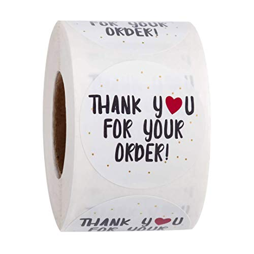 1 inch Round red Heart-Shaped Thank You Label, 500 Stickers per roll (White, 1in)