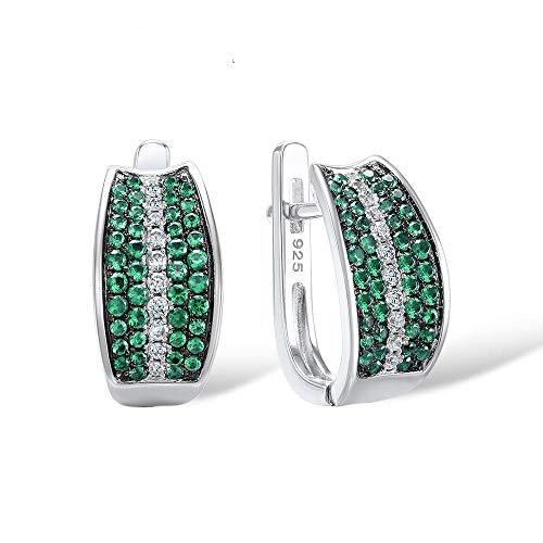 AdronQ 925 Tremella Pendientes Mujer Redonda Brillante Verde Blanco Cubic Zirconia Party Fashion Jewelry