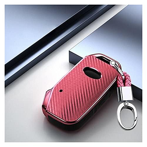 MSRRY Carbon TPU Coche Tecla Remota Caso Fob Shell Fit para KIA Stinger Sorento Sportage Key Shell (Color Name : Pink)