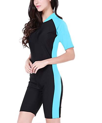 InMoo Diving Shorty Wetsuit Women Short Sleeve UV Protection Surfing Suit Wetsuit Diving Swimming Wear-Blue-US M/Asian L