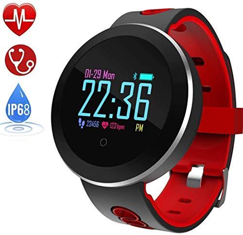 Relojes Inteligentes Tienda Reloj, IP68 a Prueba de Agua Inteligente Reloj Monitor de Ritmo cardíaco información meteorológica, los recordatorios for Android iOS Plataforma, Blanca JIAJIAFUDR