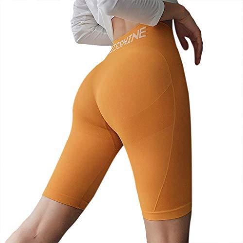 JUNESUN - Pantalones cortos de entrenamiento de cintura alta para mujer, con letras impresas, control de barriga amarillo amarillo M