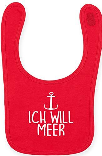 Sticker-tegel baby slabbetje klittenbandsluiting babyslabbetje met opdruk motief Ik wil MEER Anker rood