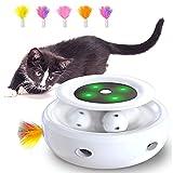 HOFIT Interaktives Katzenspielzeug, Hinterhalt mit Kugelbahnen 2-in-1 Roboter-Katzenspielzeug mit 4 austauschbaren Federn, elektrisches Katzenspielzeug für Katzen/Kätzchen (Weiß)