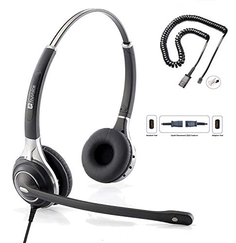 TruVoice HD-750 Premium Double Ear Noise Canceling Mic Office/Call Center Headset with U10P Bottom Cable Works with Mitel, Nortel, Avaya, Polycom, Shoretel, Aastra, Digium, ESI, Allworx + More